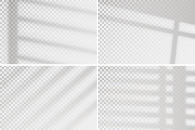 Effet de fenêtre de superposition sur transparent. ensemble de quatre scènes d'éclairage naturel. minimaliste.