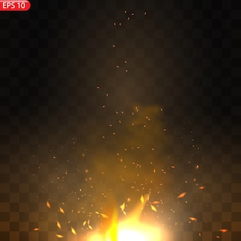 Effet de flammes de feu brûlant réaliste avec transparence