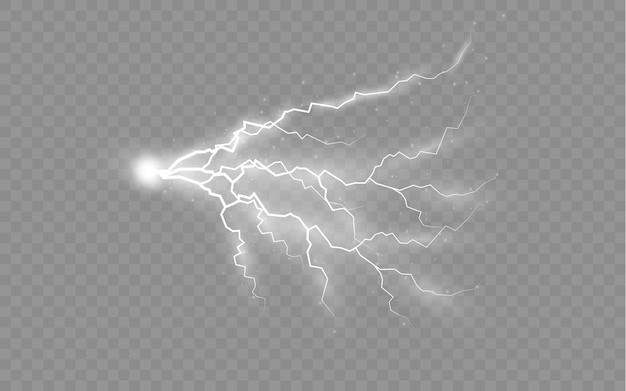 L'effet de la foudre et de l'éclairage ensemble de fermetures éclair orage et éclairs lumière et éclat
