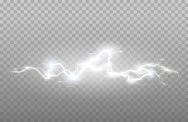 Effet de foudre et de tonnerre ou électrique, éclat et scintillement. illustration de l'effet énergétique. flash lumineux et étincelle.