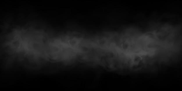 Effet de fumée ou de brouillard naturel sur fond transparent noir. fumée ou brouillard. isolé. .