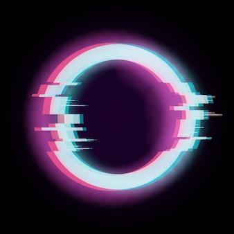 Effet glitch. forme déformée de cercle, élément de technologie numérique.