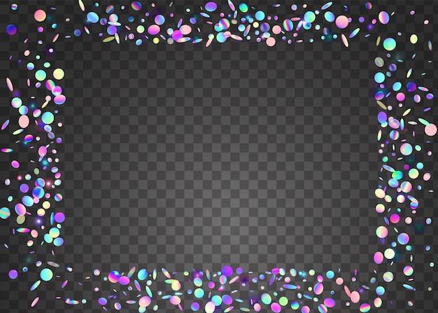Effet holographique. art de vacances. paillettes brillantes roses. éblouissement glitch. illustration de carnaval de fête. feuille webpunk. explosion laser. confettis d'anniversaire. effet holographique bleu