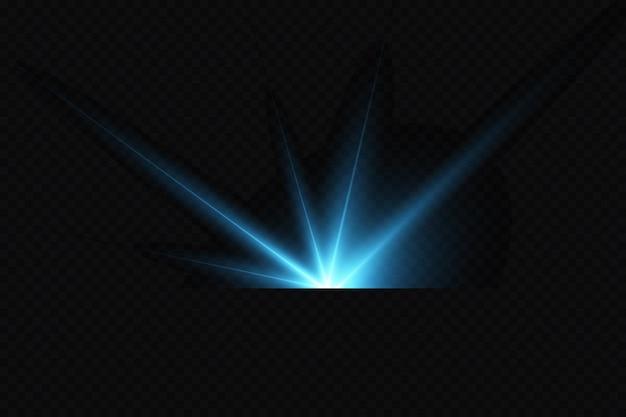 Effet de la lueur brillante des étoiles bleues particules lumineuses