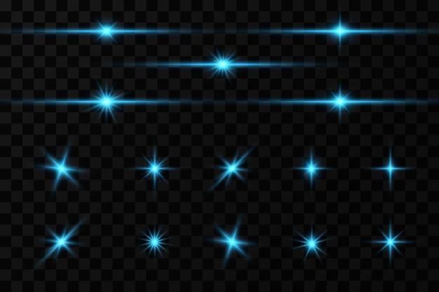 Effet de lueur brillante des étoiles bleues