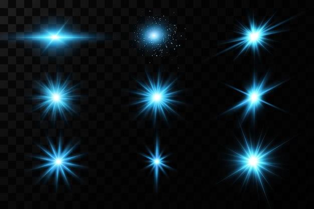 Effet de lueur brillante des étoiles bleues.