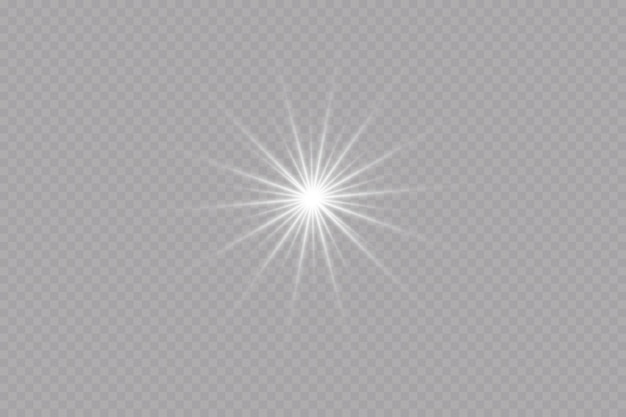 Effet de lueur étoile sur fond transparentsoleil lumineux illustration vectorielle