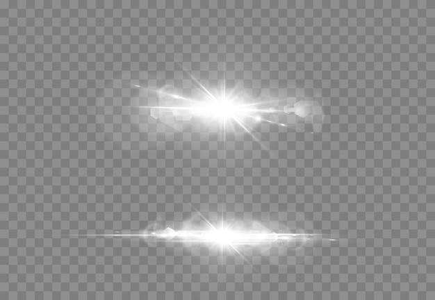 Effet de lumière abstraite de lumière parasite transparente abstraite. flou en mouvement lueur éblouissante. fond transparent isolé. élément de décoration. rayons d'étoiles horizontales et projecteurs.
