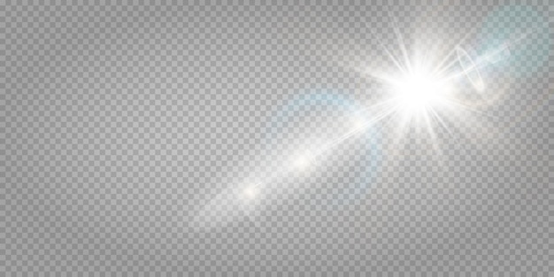 Effet de lumière abstraite de lumière parasite transparente abstraite. flou en mouvement lueur éblouissante. fond transparent isolé. rayons d'étoiles horizontales et projecteurs.