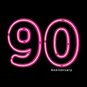 Effet de lumière au néon 90e anniversaire