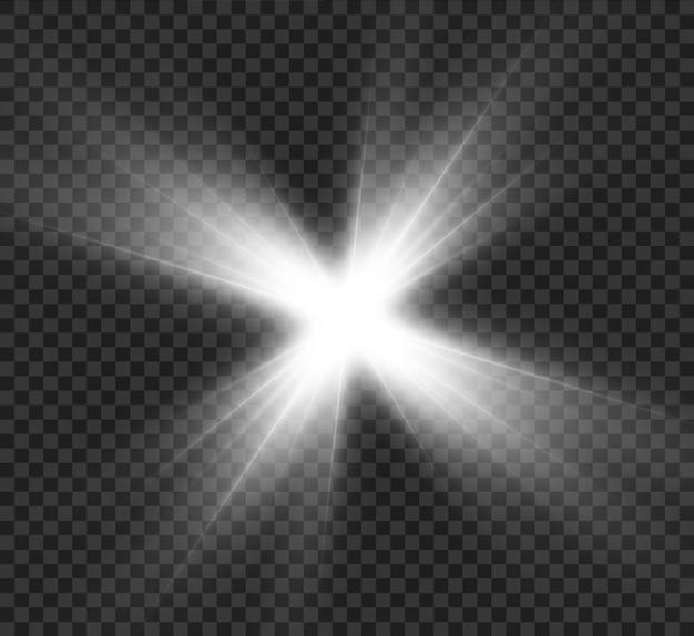 Effet de lumière blanche, étoile brillante, lueur solaire.