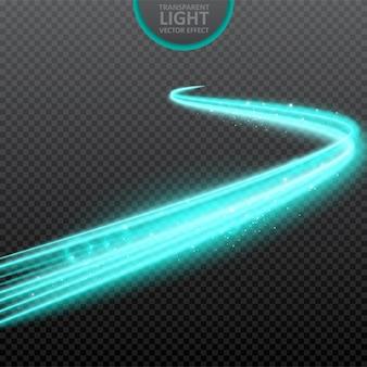 Effet de lumière bleue fond transparent avec des étincelles réalistes.