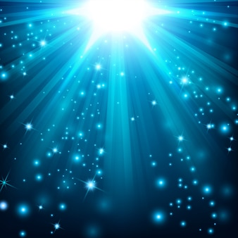 Effet de lumière bleue illuminé de paillettes