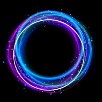 Effet de lumière de cercle lumineux. anneau de halo de lumières de boîte de nuit. conception d'effet de lueur pour faire la fête.
