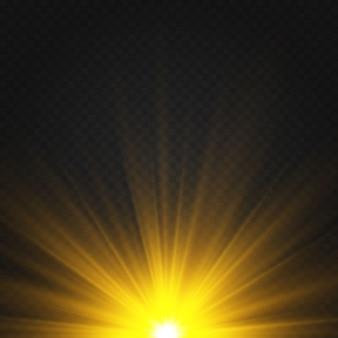 Effet de lumière chaude jaune, rayons de soleil, rayons