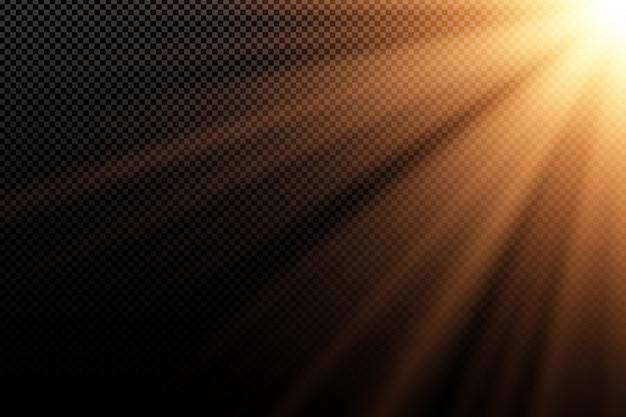 Effet de lumière doré élégant sur fond sombre transparent. rayons dorés. lumière dans l'obscurité. explosion lumineuse. lumière du soleil. lumière abstraite. .