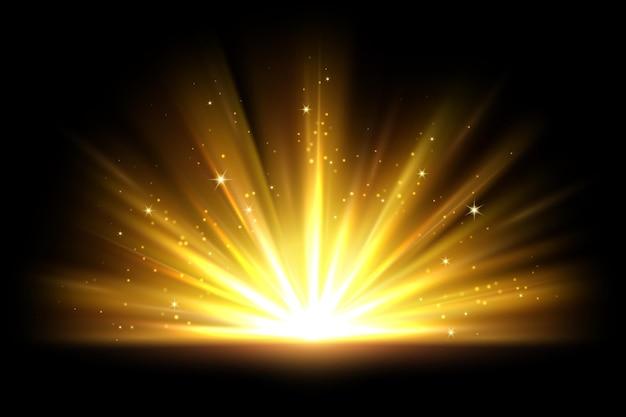Effet de lumière dorée magique avec des étincelles scintillantes brillantes les rayons du soleil chauds font éclater la superposition de lumières