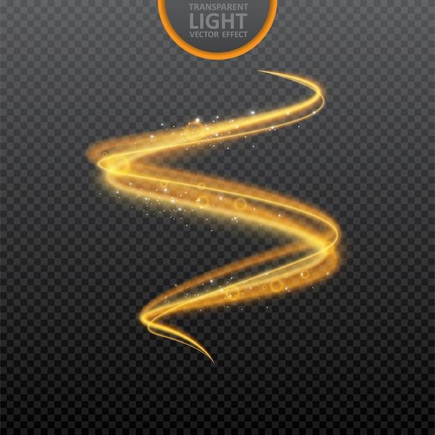 Effet de lumière dorée sur transparent avec des étincelles réalistes