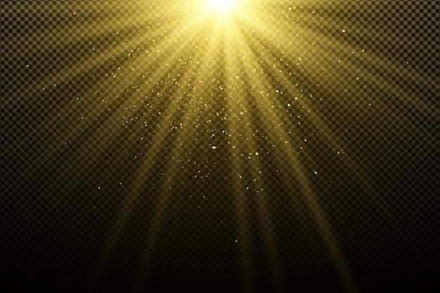 Effet de lumière dorée sur transparent foncé