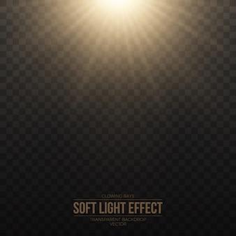Effet de lumière douce dorée vecteur transparent