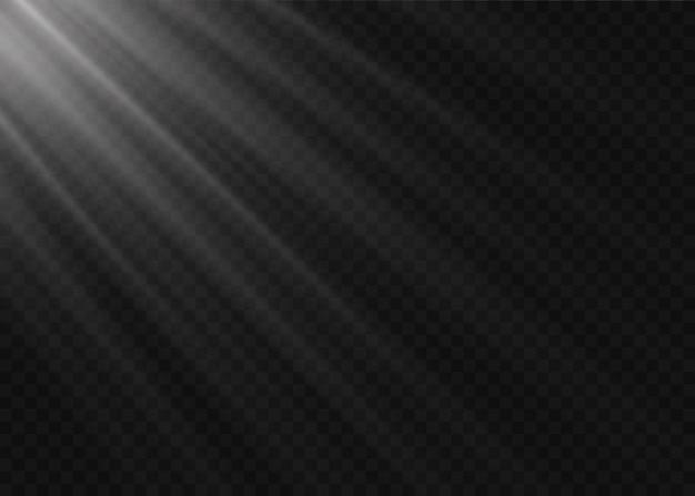 Effet de lumière du flash de lentille spéciale de la lumière du soleil transparente. flou à la lumière de l'éclat. élément de décor blanc. rayons stellaires horizontaux et projecteur.