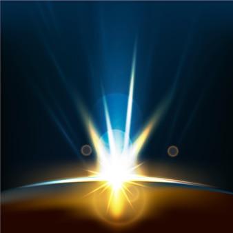 Effet de lumière du lever du soleil de la terre rougeoyante