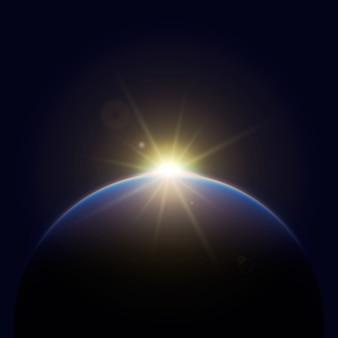 Effet de lumière du lever du soleil terre rougeoyante