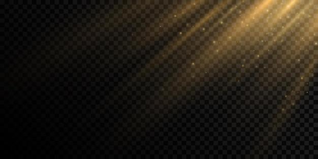 Effet de lumière du soleil avec de la poussière volante et des particules incandescentes
