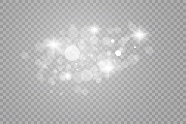 Effet de lumière éclatante. étincelles blanches et effet de lumière spécial scintillant. particules de poussière magiques scintillantes