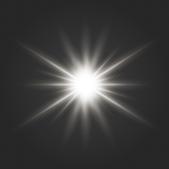 Effet de lumière éclatante. l'étoile a éclaté d'étincelles. effet de lumière lueur transparente. l'étoile a éclaté d'étincelles.