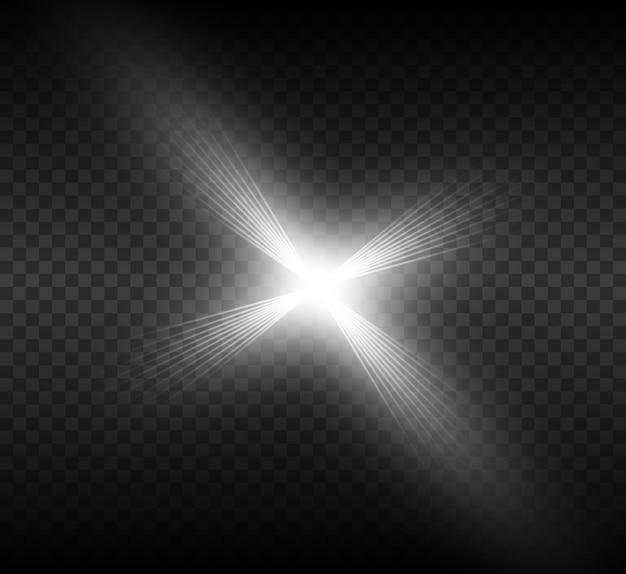 Effet de lumière éclatante. l'étoile a éclaté d'étincelles. illustration