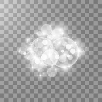 Effet de lumière éclatante. . flash de noël. poussière. étincelles blanches et effet de lumière spécial scintillant. vecteur scintille sur fond transparent. particules de poussière magiques scintillantes.