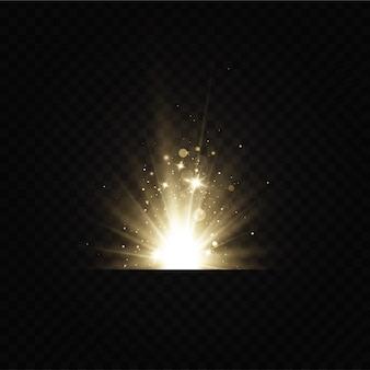 Effet de lumière éclatante. illustration vectorielle. flash de noël. poussière chute de neige. décoration.