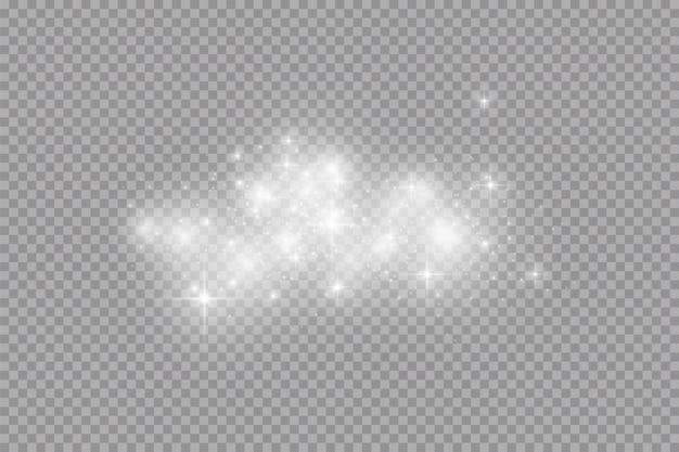 Effet de lumière éclatante. particules de poussière magiques scintillantes.