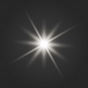 Effet de lumière éclatante. star burst. effet de lumières rougeoyantes, fusée éclairante, explosion et étoiles