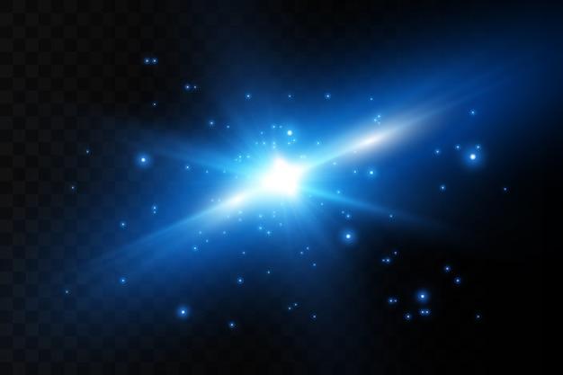 Effet de lumière éclatante. star éclate d'étincelles