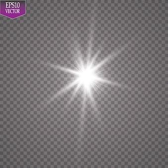 Effet de lumière éclatante. starburst avec des étincelles sur l'illustration de fond transparent.