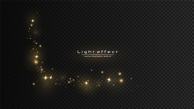 Effet de lumière éclatante. le vecteur scintille. des particules de poussière magiques scintillantes.les étincelles de poussière et les étoiles dorées brillent d'une lumière spéciale.