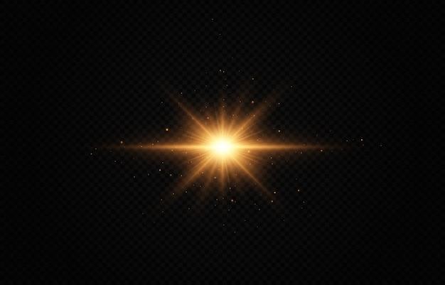 Effet de lumière étoile dorée brillante étoile brillante étoile de noël la lumière brillante dorée explose