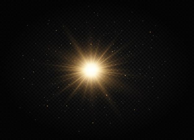 Effet de lumière étoile dorée brillante étoile brillante étoile de noël la lumière rougeoyante dorée explose