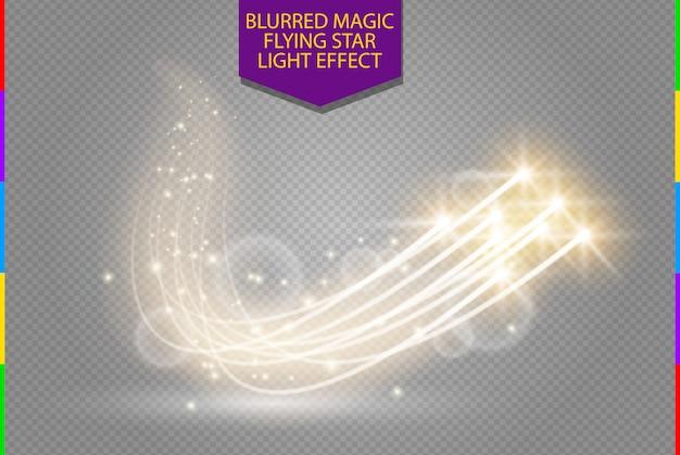 Effet de lumière d'étoile lueur magique abstraite avec des lignes courbes de flou au néon.