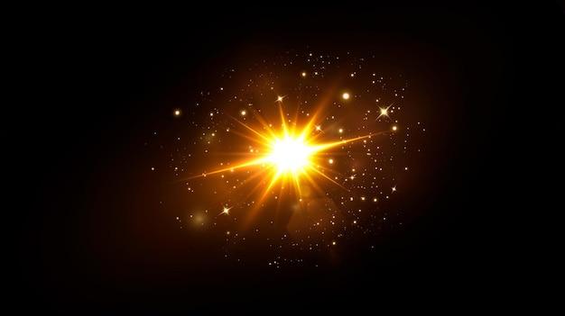Effet de lumière flare de lentille spéciale abstraite lumière du soleil transparent flou en mouvement lueur éblouissante. fond transparent isolé. élément de décor. rayons horizontaux et projecteurs.