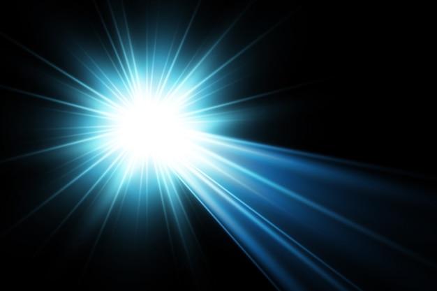 Effet de lumière flare lentille spéciale vecteur bleu transparent lumière du soleil.