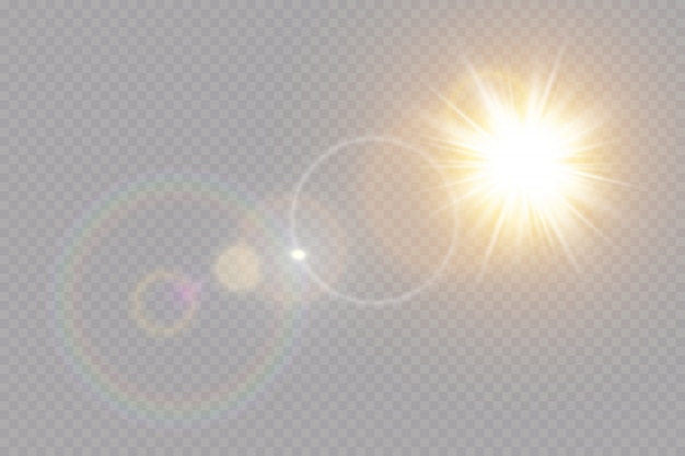 Effet de lumière flare spécial lentille transparente.