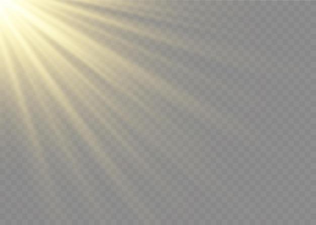 Effet de lumière flash lentille spéciale lumière du soleil transparent. flash de la lentille solaire avant. flou à la lumière de l'éclat. élément de décor. rayons stellaires horizontaux et projecteur.
