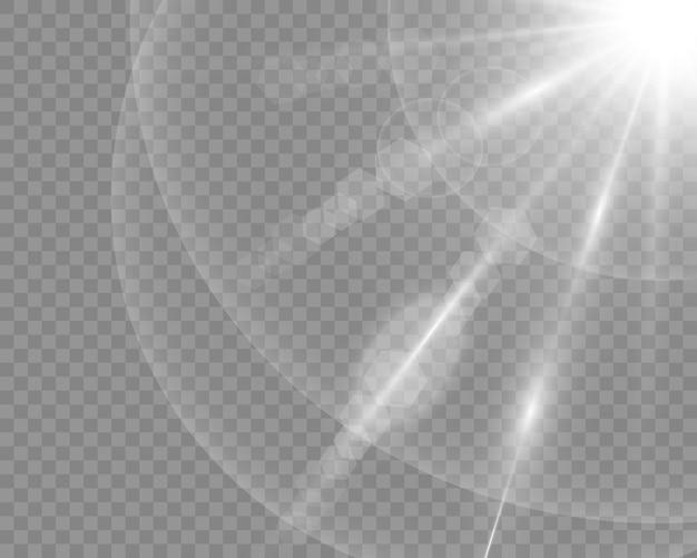 Effet de lumière flash de lentille spéciale de lumière du soleil de vecteur. flou de vecteur à la lumière de l'éclat. élément de décor. rayons stellaires horizontaux et projecteur.