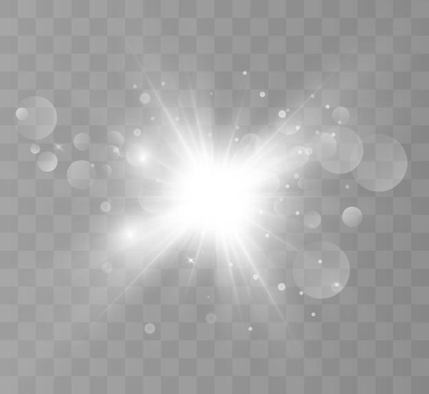 Effet de lumière flash spécial lentille le flash fait clignoter les rayons et le projecteur