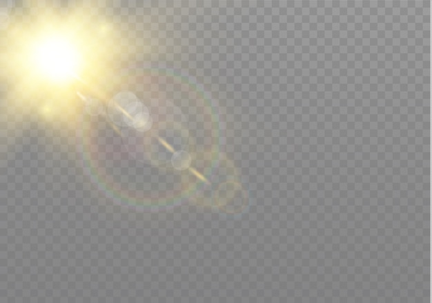 Effet de lumière flash transparent à lentille spéciale.