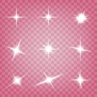 Effet de lumière glow étoiles éclate d'étincelles.