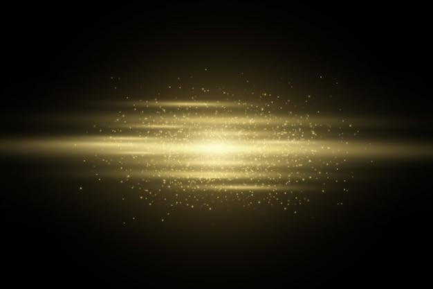 Effet de lumière des lignes brillantes abstraites dorées isolées sur un fond sombre transparent. toile de fond du scanner. élément brillant. paillettes d'or.